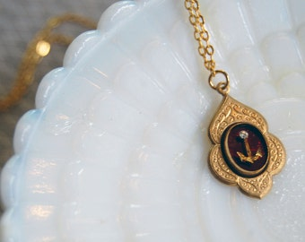 tiny vintage anchor necklace- gold plate- brass setting- rhinestone detail - cabochon