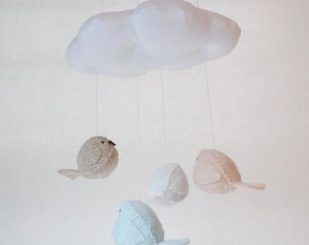 Baby mobile - birds and cloud - peach and blue nursery decor.