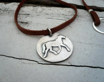Equestrian Necklace - Handmade. Fine & Sterling Silver. Leather