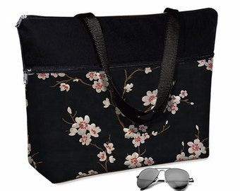"""17 inch Laptop Tote Bag Womens Briefcase Asian Blossom Laptop Crossbody  Bag 15.6""""  pockets zipper cherry red black white RTS"""