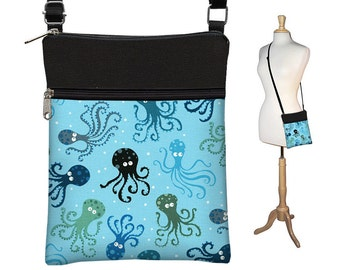 CLEARANCE Small Cross Body Bag, Shoulder Bag Purse, Front Zipper Pocket, Octopus, cute Crossbody Purse, under the sea, blue, black  RTS