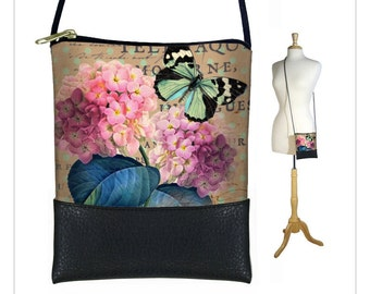 Small Cross Body Purse, Mini Crossbody Bag, Cottage Chic Floral Shoulder Bag, Hydrangea, Butterfly, Paris Post Card, Victorian, RTS