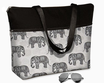 17 inch Laptop Tote Bag Womens Briefcase 15.6 Laptop Case Padded with Shoulder Straps  Fits 17 / 17.1 / 17.3 Elephant Paisley Gray Black MTO