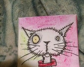 Halloween painting creepy but cute pink Zombie Cat tiny canvas