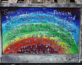 Somewhere Over the Rainbow Painting Shabby Old Window frame Wizard of Oz Art OOAK bright colors