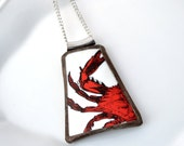 Broken China Jewelry Pendant - Maryland Crab