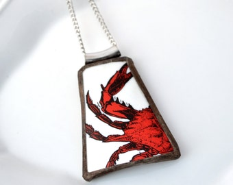 Broken China Jewelry Pendant - Maryland Crab