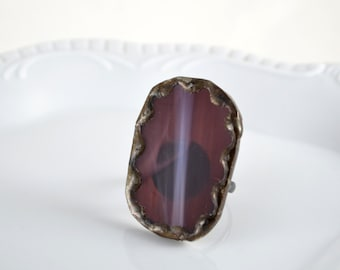 Recycled Stained Glass Ring -  Purple