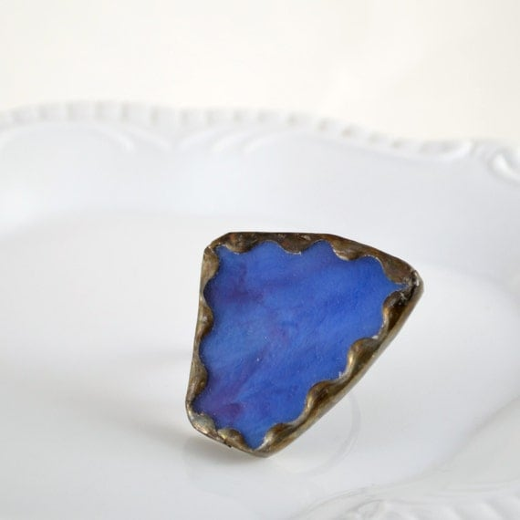 Recycled Stained Glass Ring -  Blue