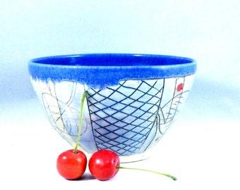Pottery bowl  for soup, salad, cereal , key bowl, art vessel, Woodland Owl Design, Ceramic bowl, Art Bowl SB194