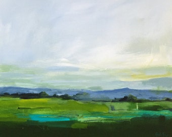 landscape, abstract landscape, original art, green art, turquoise green art, painting