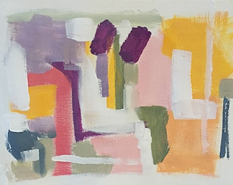 art original abstract painting on paper 9x12 modern art pink and yellow art