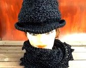 Black Crochet Hat Womens Hat, ANDY Fedora Hat, Infinity Scarf, Black Hat Sparkle, Black Crochet Scarf, Crochet Winter Hat, Winter Scarf