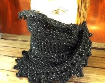 Lauren Black Sparkle Crochet Infinity Cowl Scarf, Infinity Eternity Scarf, Crochet Eternity Scarf Crochet, Cowl Eternity Scarf, Black Scarf