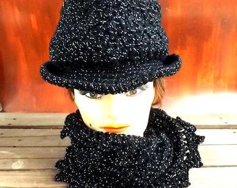 Black Crochet Hat Womens Hat, Womens Crochet Hat, Andy Fedora Hat, Infinity Scarf, Black Hat Sparkle, Black Crochet Scarf, Hat and Scarf