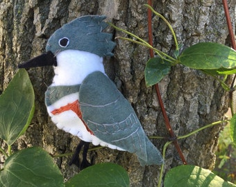 Belted kingfisher  felt embroidered ornament / home decor