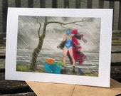 greetings card: 'Things to do on a Wet Sunday in Cumbria' - wild swimming, Buttermere, open water swiming
