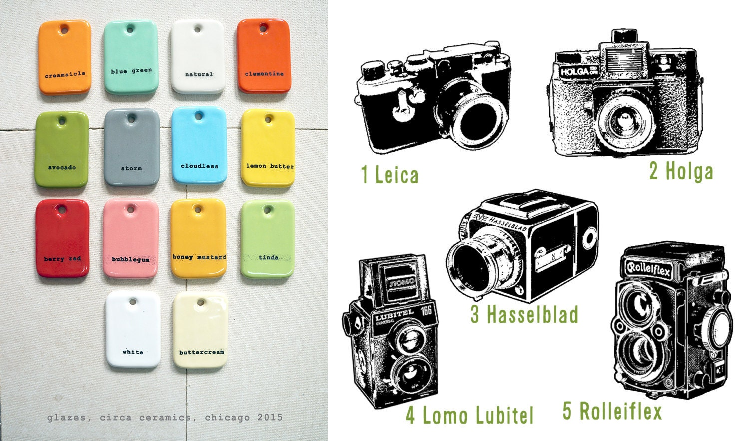 12oz cup with the camera of your choice, shown here in tinda green with a Leica print - Pick Your Colour / Pick Your Print