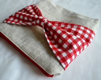 Modern Linen Zipper Pouch Make up Bag - with Red Checkered Gingham Bow