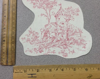 1 cotton fabric appliqués - Pink Central Park Toile - Set 4