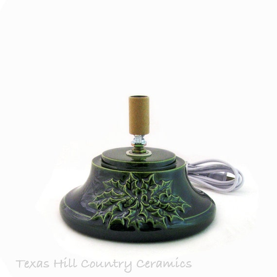 Large replacement base for ceramic christmas tree with holly design on
