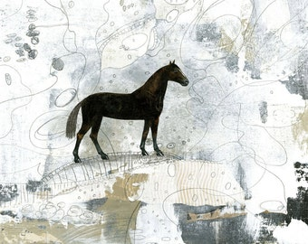 Horse Art , Horse Painting , 11x14 Art Print , Large Wall Art, Western Home Decor, Mixed Media collage Art Print
