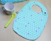Baby bib - fish - shell - ocean - turquoise - blue - purple - bamboo - baby gift - baby shower - baby meal - baby boy - birthday
