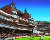 The Oval - colourful fine art giclee cricket print by Amanda Hone