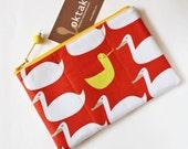 Zipper pouch swans and duck on orange yellow white bird children zipper purse cute padded pouch makeup bag