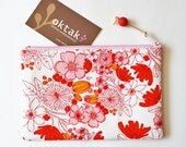 Zipper pouch retro floral in pink and orange makeup bag padded pouch quilted zipper purse 1960s flower white