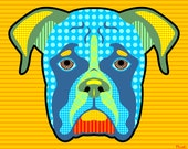 Boxer Breed Pattern Colorful Modern Pop Art Style Dog Artwork Print