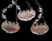 Vintage Decanter Label Necklaces - Spirits on Ice - Choose Your Poison - Asymmetrical