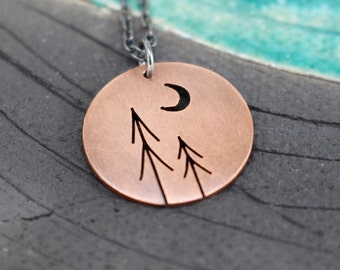 Autumn Eve Pines with Crescent Moon Tree Art round copper pendant