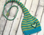 RTS Unisex Newborn Baby Knit HAT Baby Photo Prop HeART Stocking Cap LoNG TAiL Turquoise Lime Stripe CoMiNG HoME Shower Gift MuNCHKiN Toque