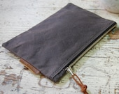 Utility Zipper Pouch Waxed Canvas/ Vegan Option/ Canvas Zipper Bag/ Canvas Cosmetic Bag/ Travel Organizer/ Electronic Cord Organizer