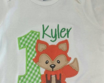Boutique-Personalized-Applique Fox 1st Birthday-First Birthday-Bodysuit-T-shirt