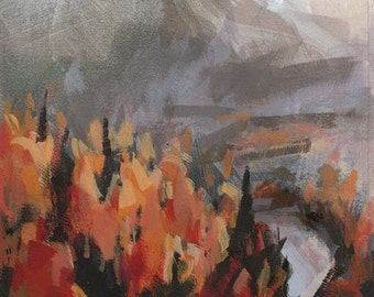Original Landscape Fall Autumn Leaves Mountain Trees Forest - 5x7 by David Lloyd