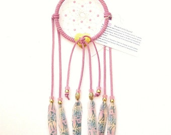 Candy Pink Dream Catcher, Printed Pastel Duck Feathers