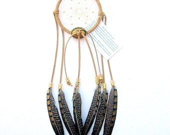 Beige Dream Catcher, Lady Amherst Pheasant Feathers