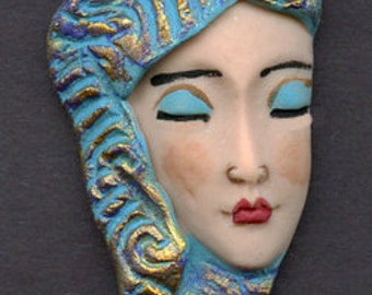 Polymer Clay Profile One of a kind textured Asian    Face Shard SHA 1