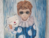 Vintage 1964 Acrylic Painting Copy of Walter Keane Happy Mask Unhappy Boy 12 x 16 Inches