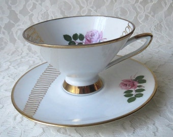 Vintage Winterling Bone China with Pink Roses and Gold Atomic Design Teacup & Saucer Set Made in Germany