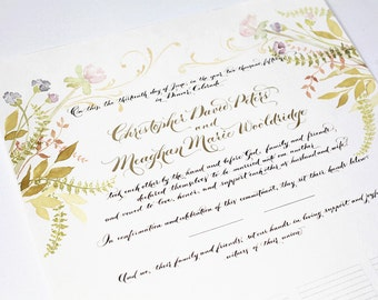 Wedding Guestbook, Marriage Certificate, Custom Calligraphy and Watercolor