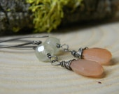 peach moonstone and prehnite earrings - oxidized silver