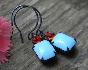 Vintage two stone earrings - turquoise blue and hyacinth - oxidized silver earwires