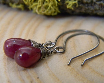 petite rustic ruby earrings - oxidized silver
