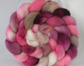 Hand Dyed Merino Wool Combed Top Roving  (4.0 oz.) - BABYDOLL -Spinning Fiber Hand Painted Kettle Dyed Braid Needle Felting