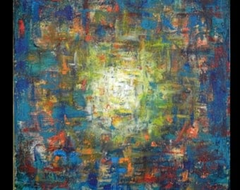 Dimensional Vortex Art Abstract Turquoise Painting on Canvas - 30x30 - Modern Wall Art by BenWill