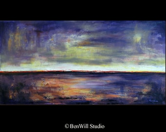 TURQUOISE Art Abstract Expressionist Contemporary Art ORIGINAL Painting - Purple Red HORIZON - 48x24 by BenWill