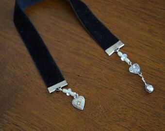 black velvet ribbon bookmark with repurposed jewelry